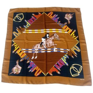 Gucci Italy Silk Hand Rolled Equestrian Jumper Scarf 33 X 34 C 1980s For Sale