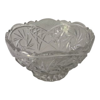 Vintage Pressed Clear Glass Star With Floral Design Serving Bowl For Sale