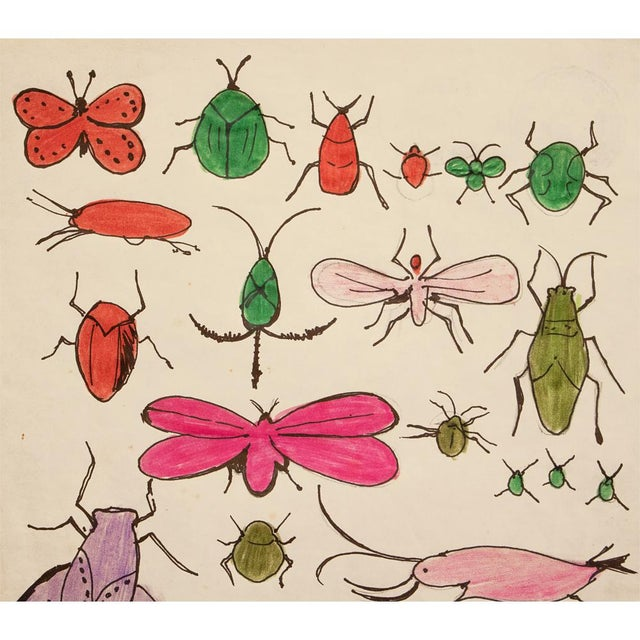 "Original large pencil, ink and crayon drawing ""Happy Bug Day!"" by Andy Warhol from The Andy Warhol Estate. Signed by the..."