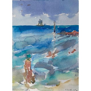 Seascape Landscape Mother and Children Wading (Key West) Original Watercolor Painting by Rebecca Dvorak For Sale