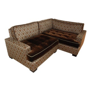 Custom Brown Mohair & Sage Green Sectional Couch For Sale
