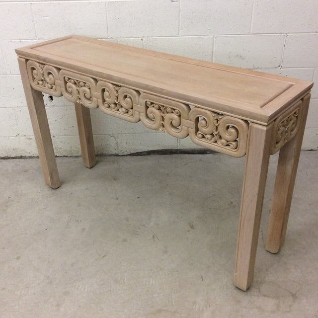 Asian Style White Wash Wood Carved Console Table For Sale - Image 4 of 12