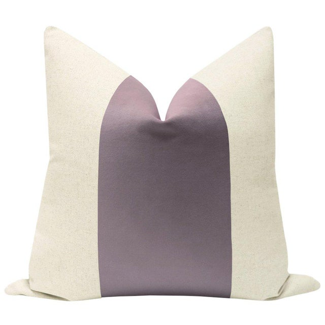 """Pair of beautiful 22"""" natural linen pillows with a Smokey Lavender velvet center and solid natural linen reverse...."""