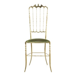 Pair of Polished High Back Brass Chairs by Chiavari, Italy, 1950 For Sale