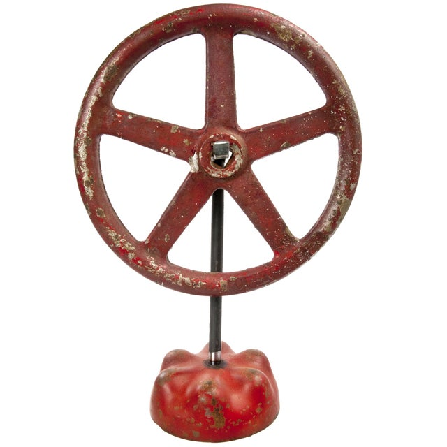 Vintage Cast Iron Valve Handle on Stand - Image 1 of 3