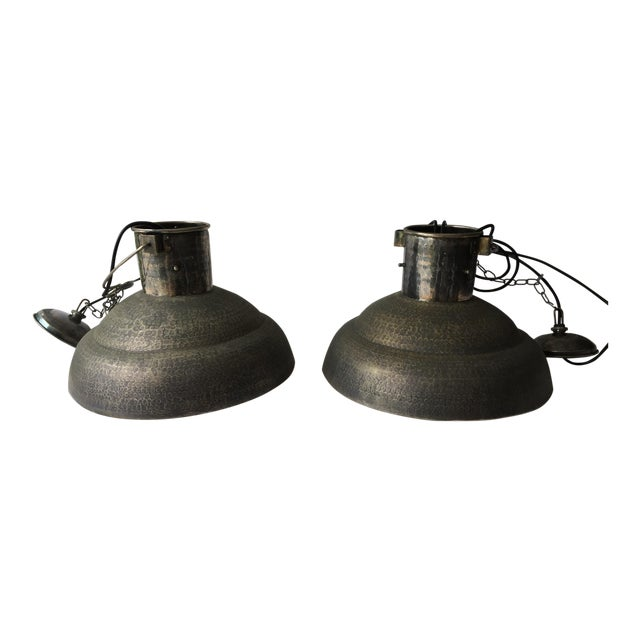 Metal Hammered Chandeliers - A Pair - Image 1 of 4