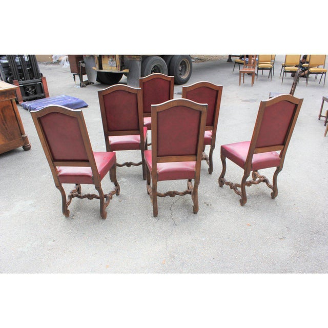 French Louis XIII Style Os De Mouton Red Leather Dining Chairs - Set of 6 For Sale In Miami - Image 6 of 13