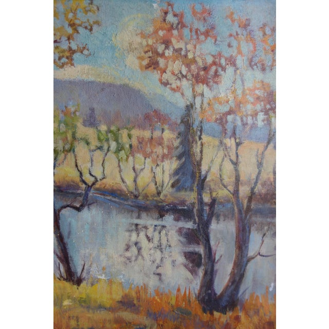 Mid 20th Century Vintage Oil on Canvas Fall Landscape Painting For Sale - Image 5 of 12