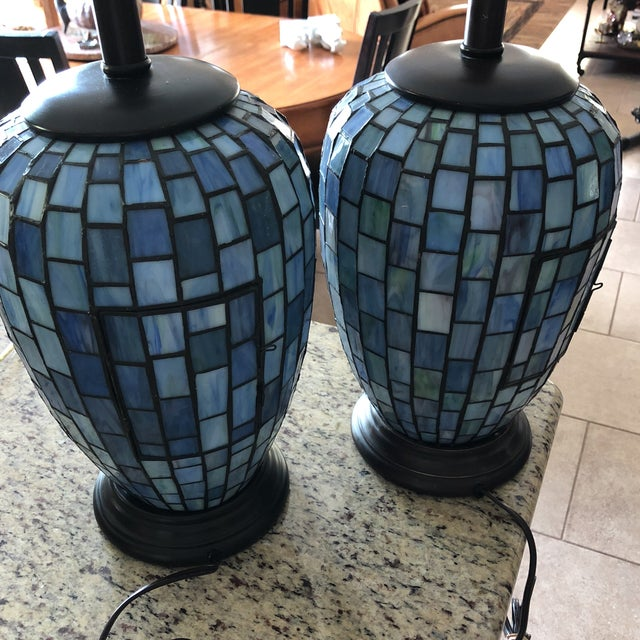 Arts and Crafts Geometric Blue Stained Glass Lamps - a Pair For Sale In Austin - Image 6 of 13
