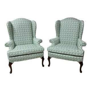1980s Vintage Lacefield Fabric Wingback Chairs- A Pair For Sale