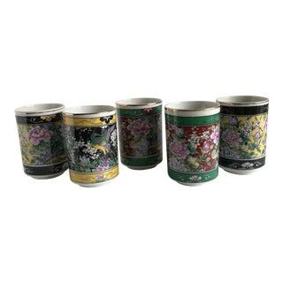Asian Peacock Blossom Tea Cups - Set of 5