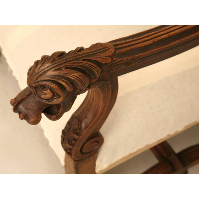 Circa 1880 French Walnut Os De Mouton Throne Chair For Sale In Chicago - Image 6 of 11