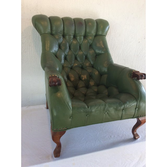 Mid Century Green Leather Spoon Chair and Ottoman For Sale - Image 9 of 12