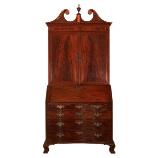 18th Century American Chippendale Mahogany Bookcase Over Secretary Desk For Sale