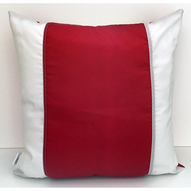 21-inch square pillow cut and sewn from a retired 18 foot American Flag. Machine embroidered star is 6 inches wide, the...