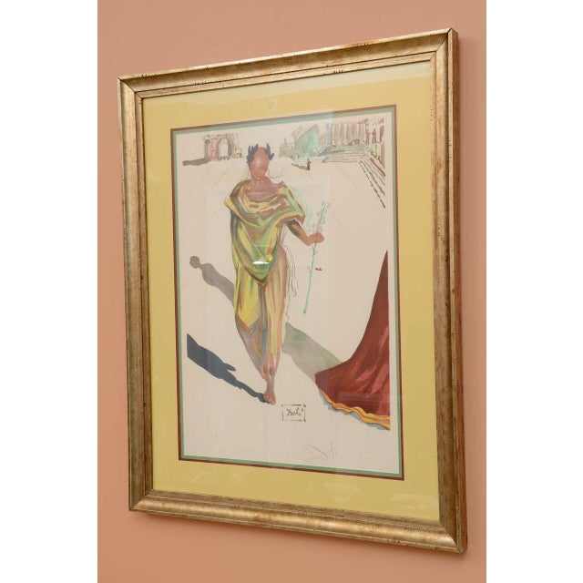 Lithograph titled Apollo by Salvador Dali from the 1970s. Size labeled is unframed. Framed size 28 5/8 x 38