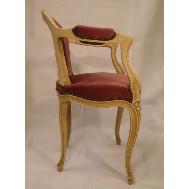 Antique Ivory Louis XV Style Low Back Fauteuil - Image 4 of 7