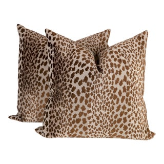 Chocolate Velvet Cheetah Pillows - A Pair For Sale