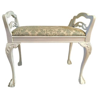 Antique White Chippendale Bench For Sale