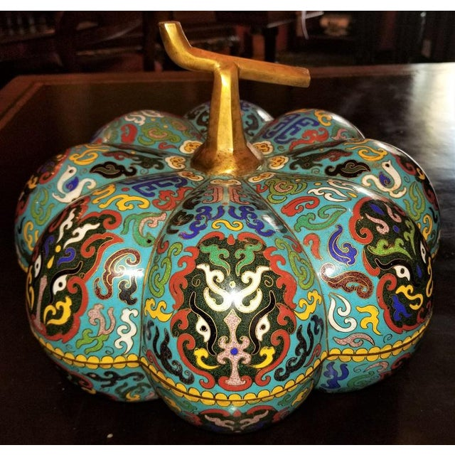Chinese Cloisonne Pumpkin Lidded Box For Sale - Image 12 of 12