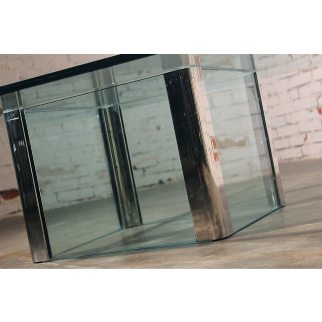 Pace Collection Chrome & Glass Square Coffee Table For Sale - Image 9 of 11