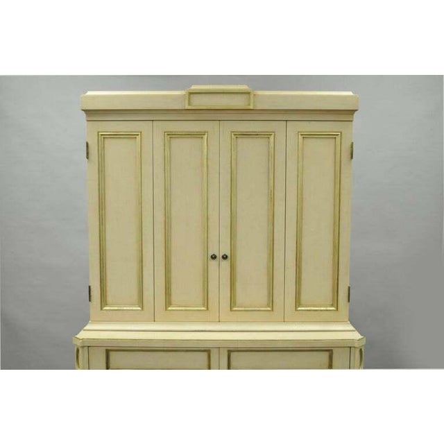 French French Neoclassical Louis XVI Style Cream & Gold Painted Bar Cabinet by Decca A For Sale - Image 3 of 11
