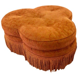 Hollywood Regency Style Large Clover Shaped Tufted Ottoman or Stool