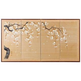 Japanese Four-Panel Prunus Blossom on Silk Screen For Sale