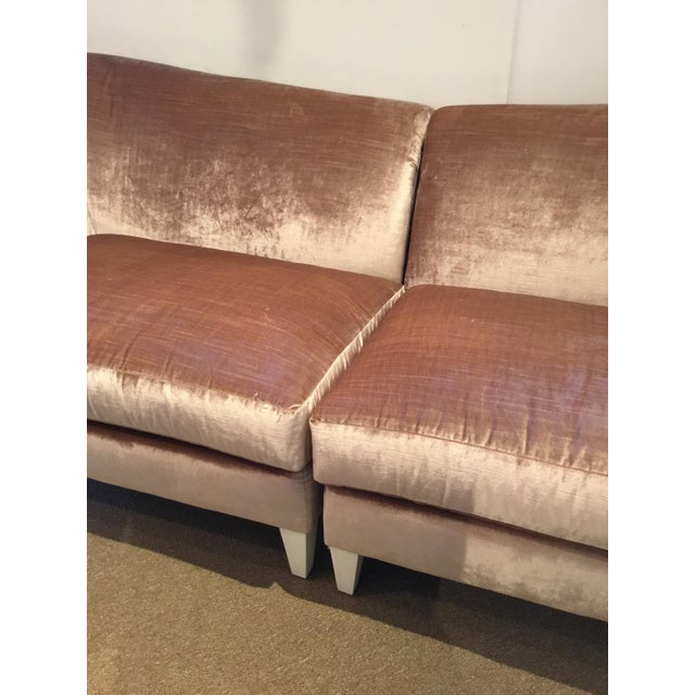2010s Caracole Modern Blush Velvet Two Piece Sofa For Sale - Image 5 of 6
