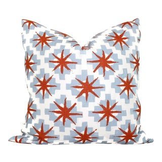 "20"" x 20"" Peter Dunham Blue & Red Stars Decorative Pillow Cover For Sale"