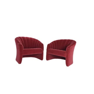 1970s Red Mohair Barrel Back Lounge Chairs- A Pair For Sale