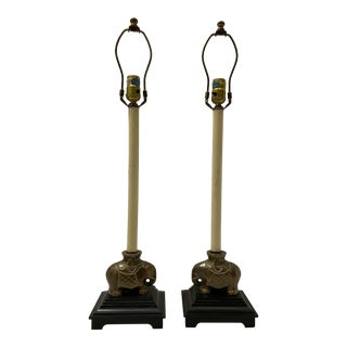 Pair of Tall Brass Elephant Lamps For Sale