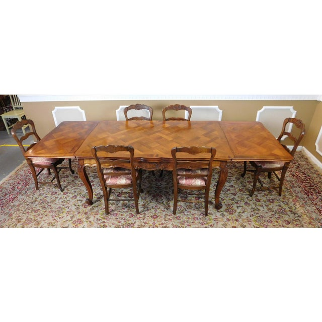 1960s French Country Oak Draw Leaf Table & 6 Chairs - Image 6 of 10