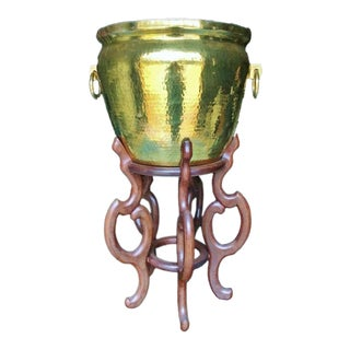"Maitland Smith 37"" Hammered Brass Fish Bowl Rings Teak Planter Plant Stand For Sale"
