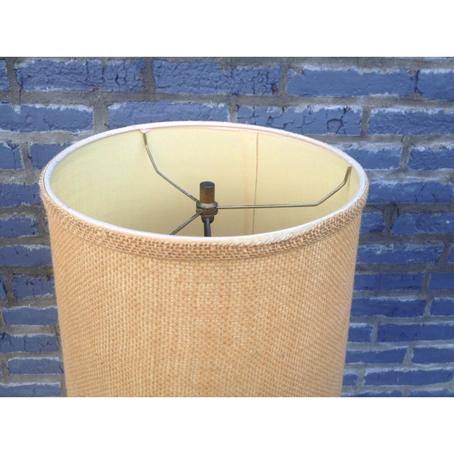 Mid Century Brass Floor Lamp w/Wood Accent - Image 3 of 7