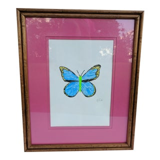 Butterfly Acrylic Painting Faux Bamboo Frame Signed For Sale