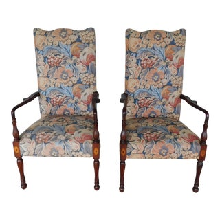 Antique Centennial Period Sheraton Style Mahogany Fireside Arm Chairs - a Pair For Sale