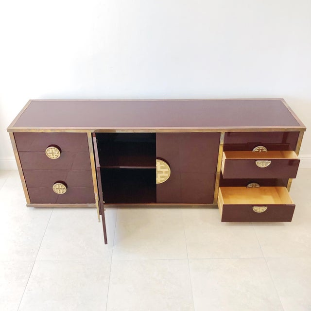 Metal Giacomo Sinopoli for Liwan's of Rome, Italy Bronze Asian Hardware Credenza Sideboard, 1972 For Sale - Image 7 of 12