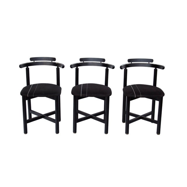 Danish Modern Set of 3 Danish Dining Chairs With Striped Seats For Sale - Image 3 of 12