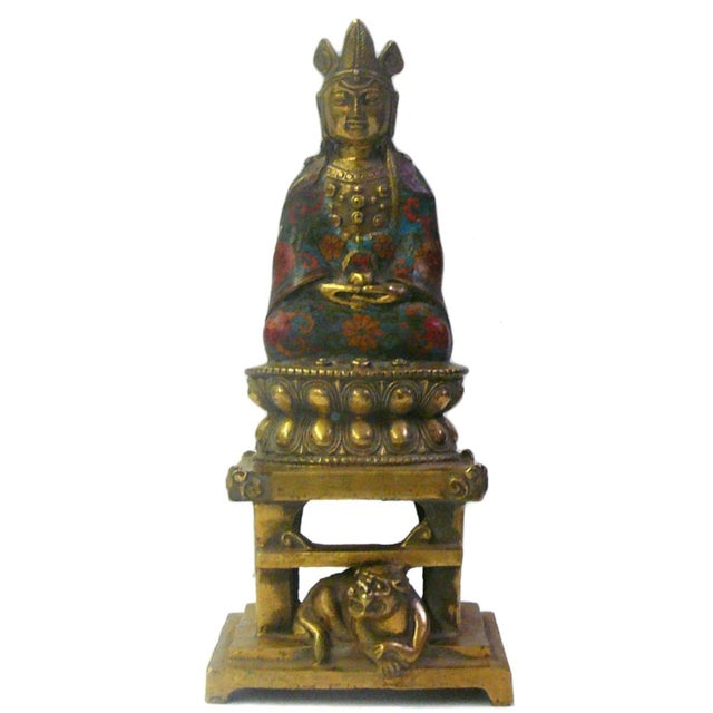 Metal & Blue Enamel Cloisonne Buddha Statue For Sale