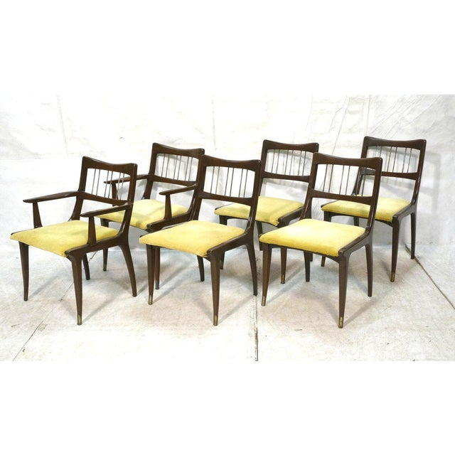 Set of 6 Lane Mid-Century Modernist Walnut Dining Chairs W Metal Rods and Brass Sabots For Sale - Image 9 of 9