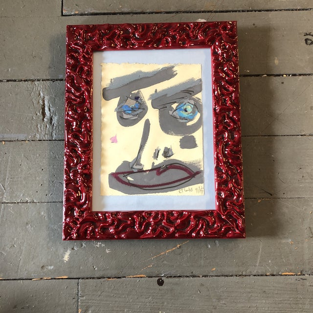 2020s Original Contemporary Robert Cooke Abstract Face Painting Red Enamel Frame For Sale - Image 5 of 5