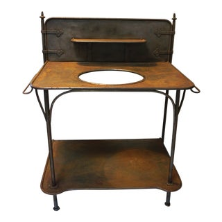 Antique French Farmhouse Iron Wash Stand For Sale