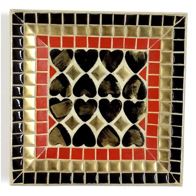 Art Deco Ceramic Heart Tile Tray - Image 2 of 8