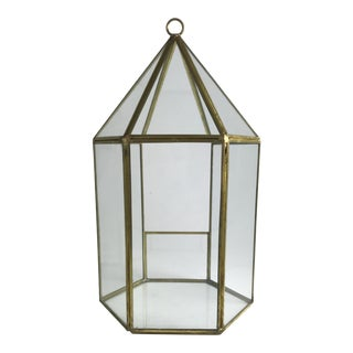 Hexegon Brass and Glass Terrarium For Sale