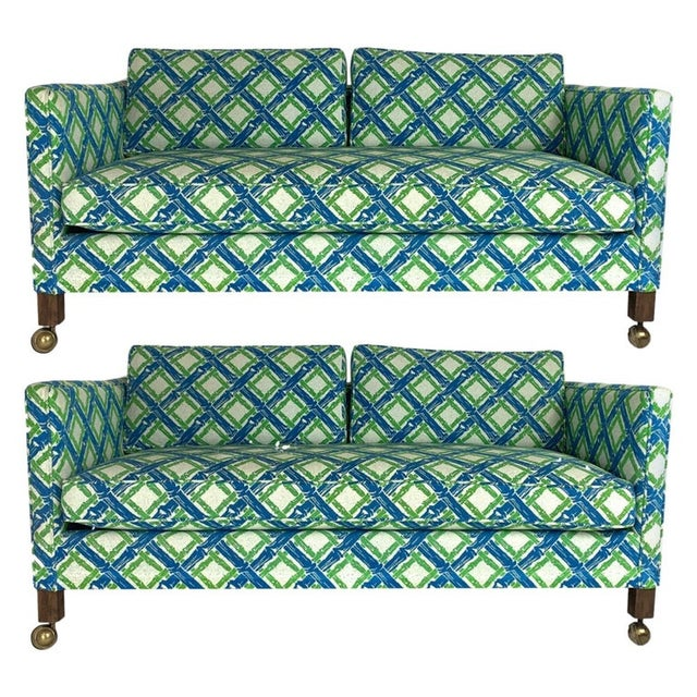 Tuxedo or Parsons Settees / Sofas in Textured Lattice Bamboo Upholstery - a Pair For Sale - Image 10 of 10