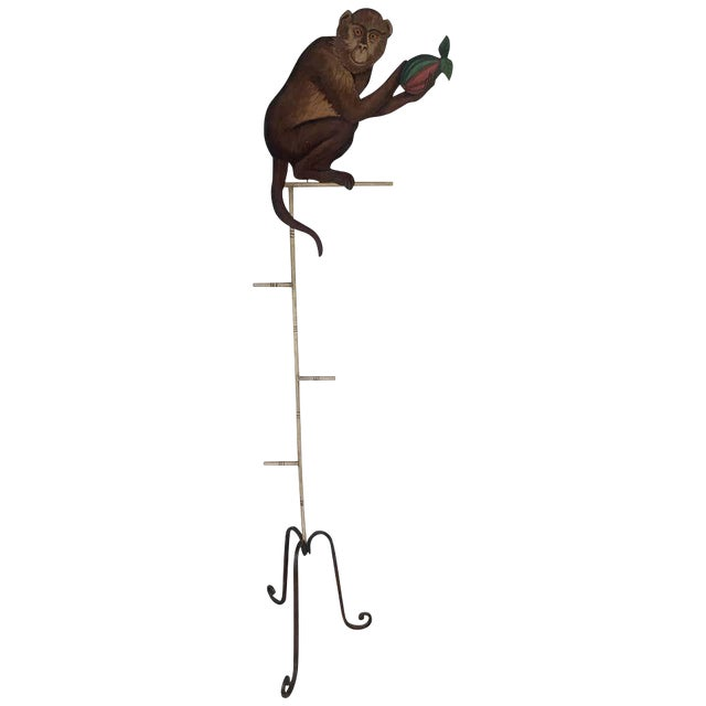 Tole Monkey With Pomegranate Towel Rack For Sale