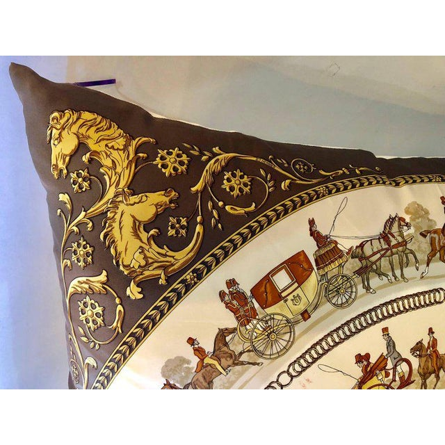 Late 20th Century Enormous Hermes 'La Promenade De Longchamps' Overstuffed Silk Pillow For Sale - Image 5 of 12