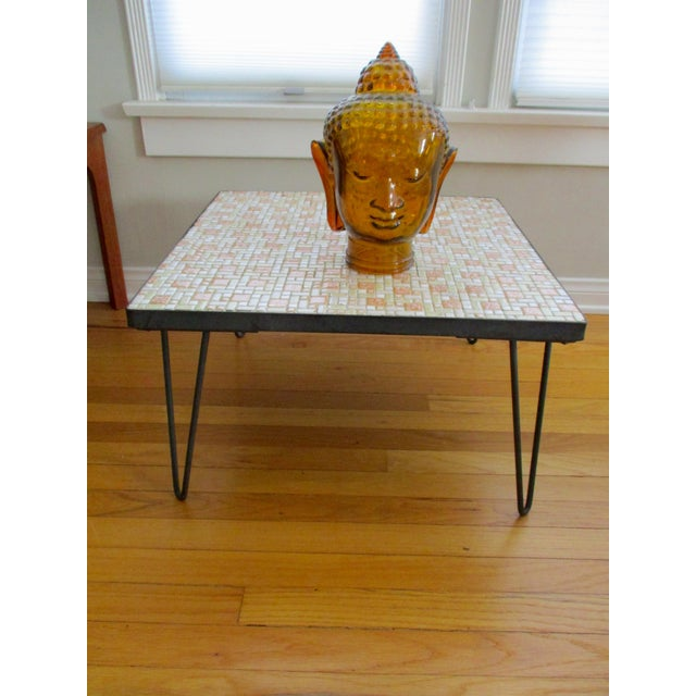 Mosaic Mid-Century Modern Orange and White Coffee Table Patio Furniture - Image 3 of 11