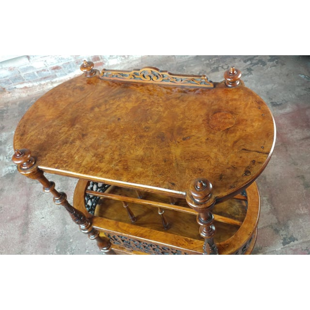 19th c. Georgian Carved Burl Wood Library Book Stand & Magazine rack For Sale - Image 4 of 12